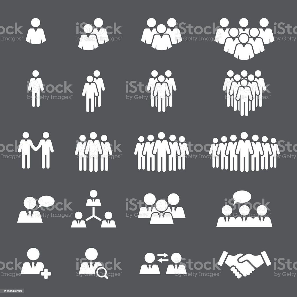 Business People Team Icon Set vector art illustration
