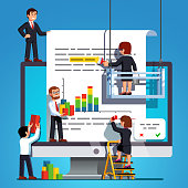 Small business people team working on report document text, bar chart presentation on huge desktop computer screen. Team document editing paperwork metaphor. Flat vector isolated teamwork illustration