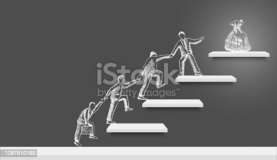 istock Business people team silhouettes climbing up stairs to money bag on the top, vector illustration. Financial success. 1287610183