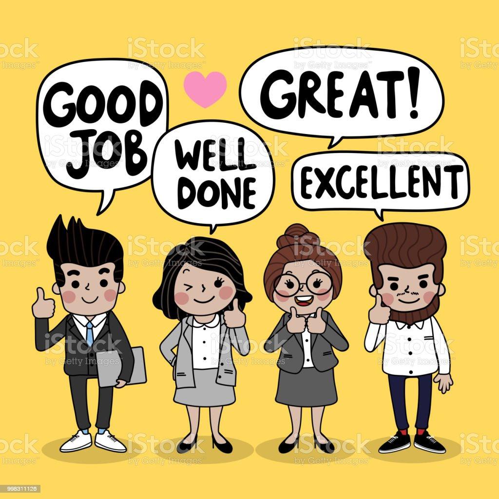Business People Teamwork Cartoon Character Said Great Job -8938