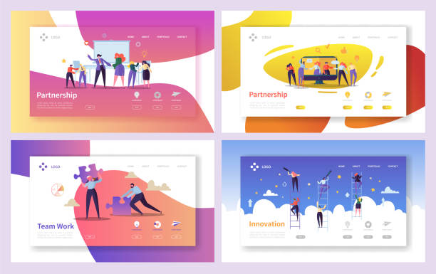 illustrazioni stock, clip art, cartoni animati e icone di tendenza di business people teamwork innovation landing page set. creative character team partnership to increase company success growth. businessman partner concept for web page. flat cartoon vector illustration - azienda partner