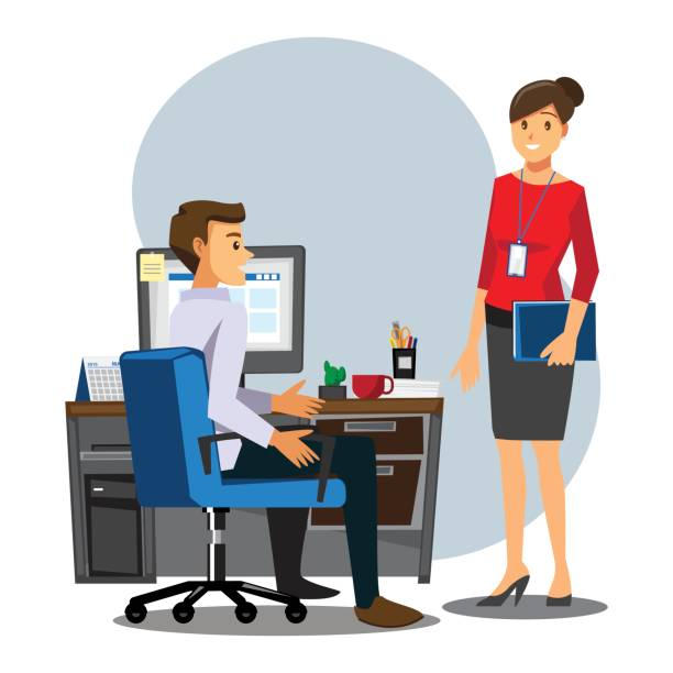 Business People teamwork ,Male employees female employees Consulting  ,Vector illustration cartoon character. vector art illustration