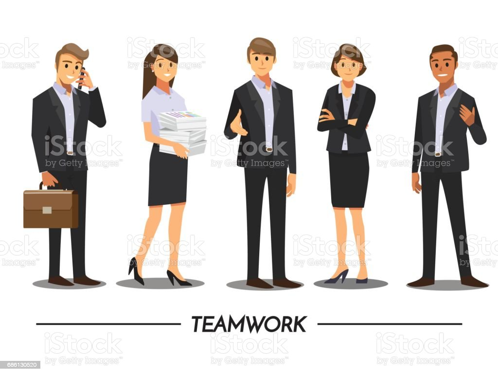 Business People teamwork ,Vector illustration cartoon character. – Vektorgrafik