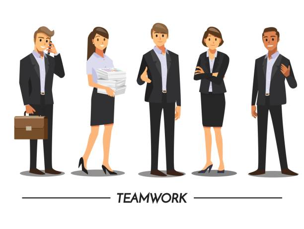 business people teamwork ,vector illustration cartoon character. - businessman stock illustrations, clip art, cartoons, & icons