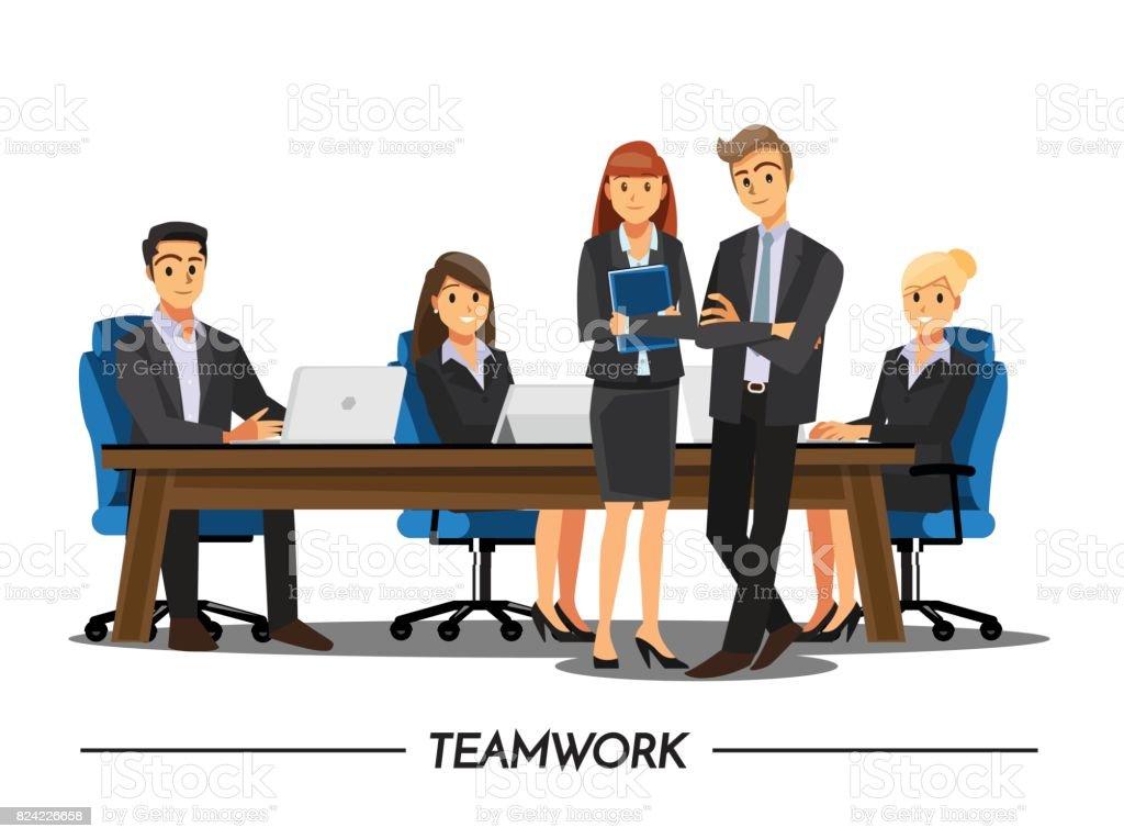 Imagenes De Personas Trabajando En Equipo: Ilustración De Negocios Personas Trabajo En Equipo