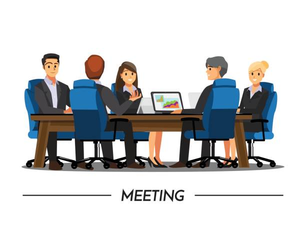 Group Of Business People Meeting On A Cafevector ... |Business Meeting Cartoon Person