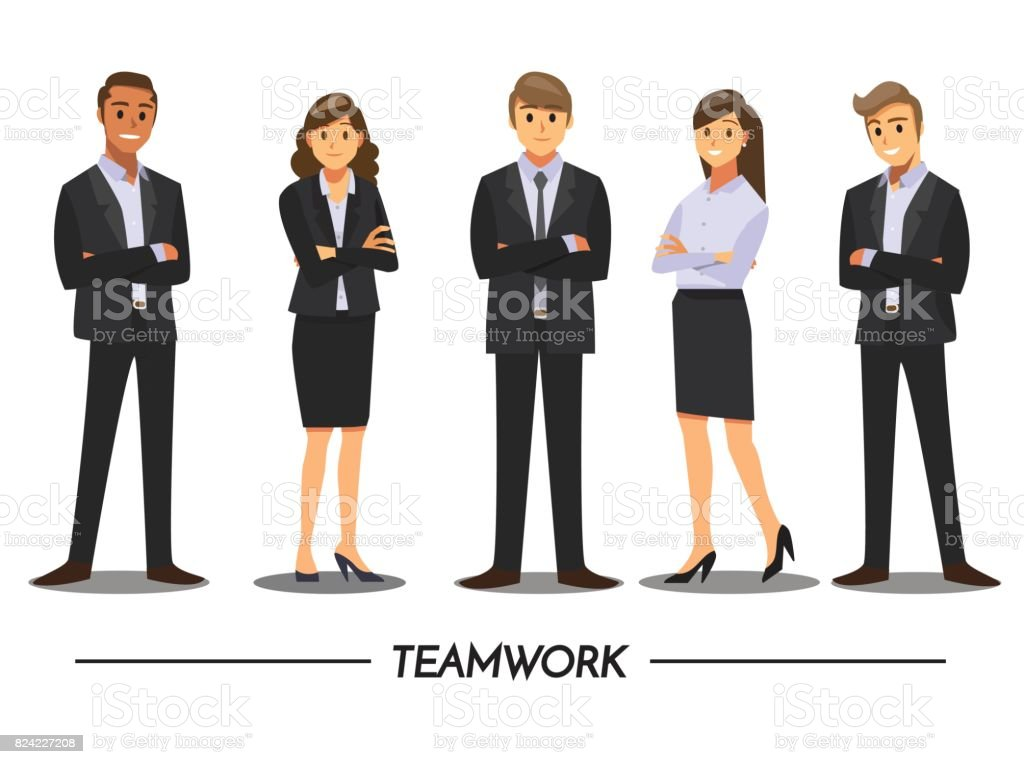 Business mensen teamwork, Vector Illustratie stripfiguur. - Royalty-free Alleen volwassenen vectorkunst