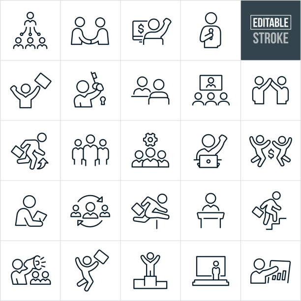 Business People Thin Line Icons - Editable Stroke A set of business people icons that include editable strokes or outlines using the EPS vector file. The icons include business men and women, managers, handshakes, deals, agreements, speeches, success, interview, web conference, promotion, business teams, business people working, business people excelling, business people giving presentations, business conference and other related themes. colleague stock illustrations