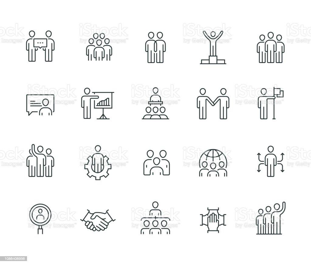Gens d'affaires mince ligne série - clipart vectoriel de Accord - Concepts libre de droits