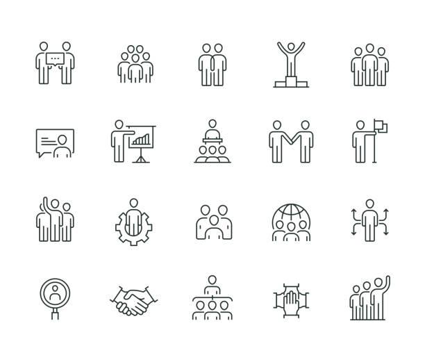 비즈니스 사람들이 얇은 라인 시리즈 - 사람들 stock illustrations