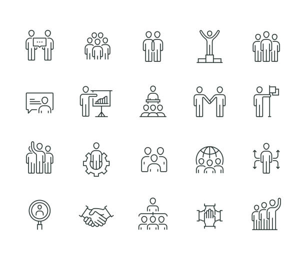 Business People Thin Line Series Business People Thin Line Series person icon stock illustrations