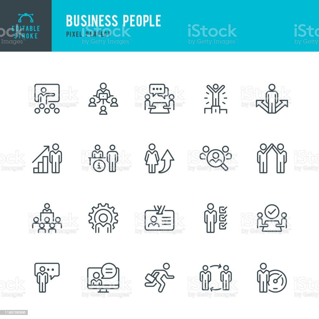 ビジネスマン - 薄い線形ベクトルアイコンセット。ピクセルパーフェクト。編集可能なストローク。セットには、人、チームワーク、パートナーシップ、プレゼンテーション、リーダーシッ� - アイコンのロイヤリティフリーベクトルアート