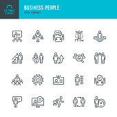 Business People - thin linear vector icon set. 20 linear icon. Editable stroke. Pixel perfect. The set contains icons: People, Teamwork, Partnership, Presentation, Leadership, Growth, Manager, Wining, Meeting and so on.