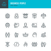 Business People - thin linear vector icon set. 20 linear icon. Editable stroke. Pixel perfect. The set contains icons: People, Teamwork, Partnership, Presentation, Leadership, Growth, Manager, Wining, Efficiency and so on.