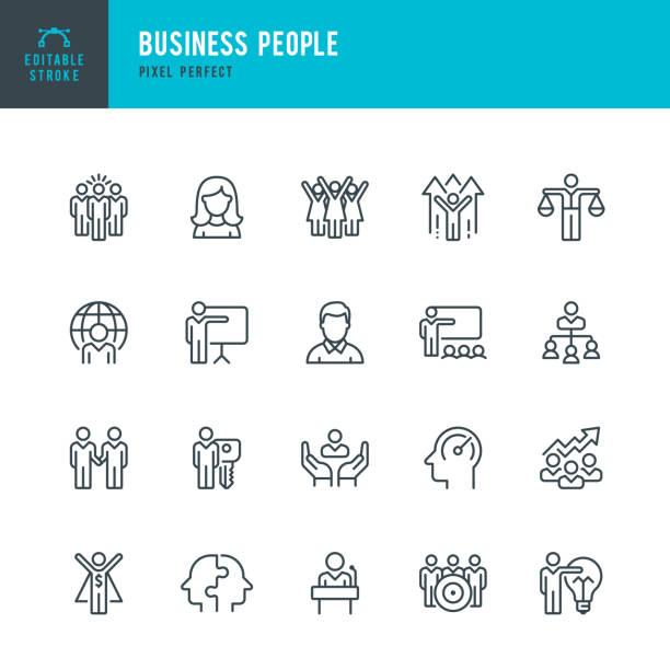 Business People - dünner linearer Vektorsymbolsatz. Pixel perfekt. Bearbeitbarer Strich. Pixel perfekt. Das Set enthält Symbole: Personen, Teamarbeit, Partnerschaft, Präsentation, Führung, Wachstum, Manager. – Vektorgrafik