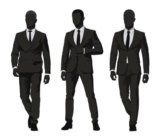 비즈니스 사람입니다. 어두운 정장에 세 남성 고립 벡터 실루엣. 추상적인 실업가의 그룹 - 수트 stock illustrations