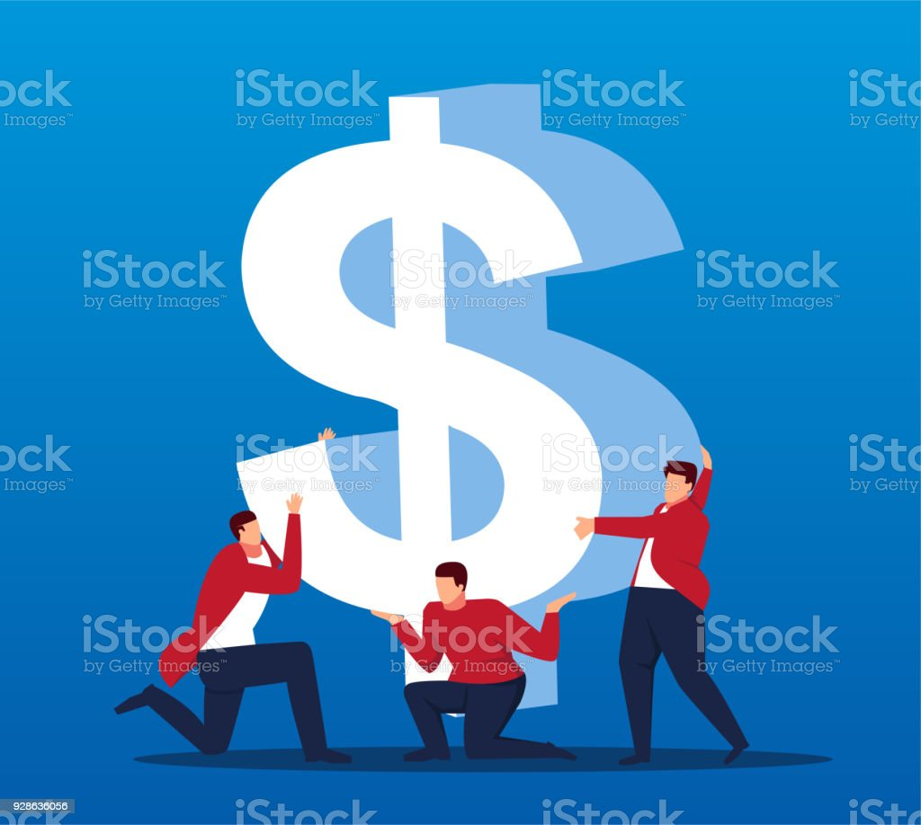 Business people together to lift the dollar vector art illustration