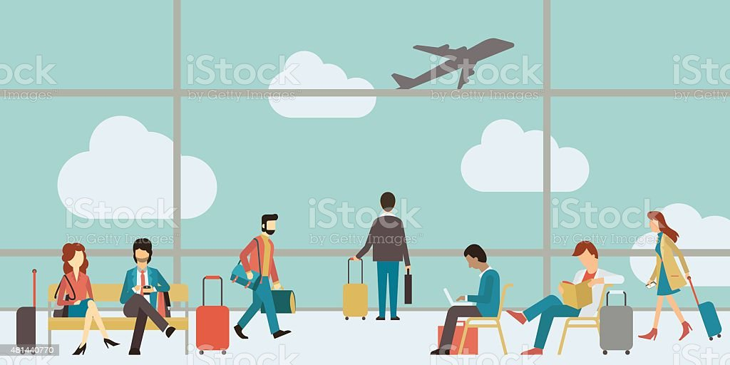 Business people travel vector art illustration