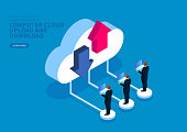 Business people upload and download files from the cloud