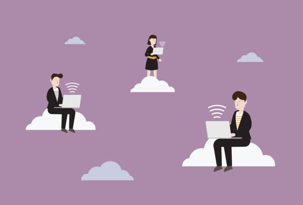 illustrazioni stock, clip art, cartoni animati e icone di tendenza di business people use wireless technology to work - new normal