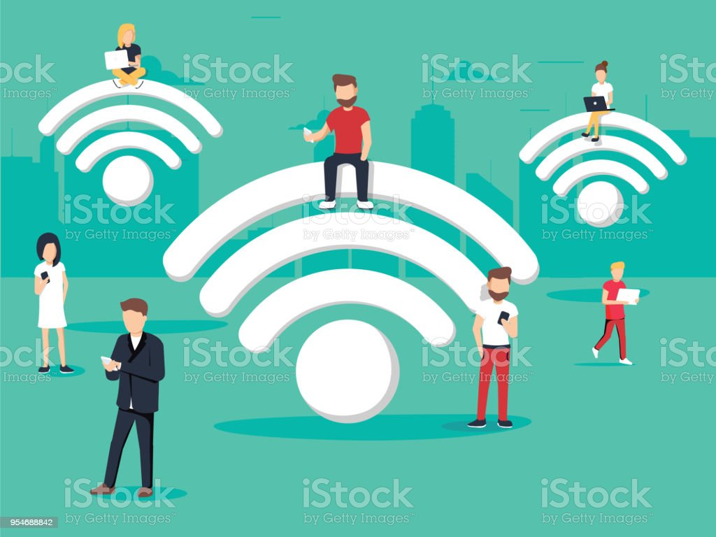 Business people using laptop and phone with internet support business and lifestyle. Concept business vector illustration. vector art illustration