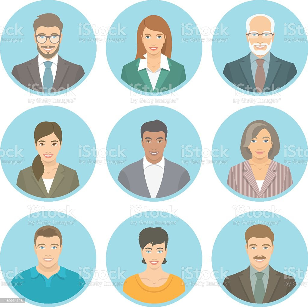 Business people vector flat avatars male and female vector art illustration