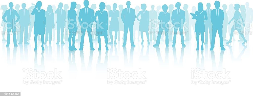 Business People (Each Person is Complete and Moveable) vector art illustration