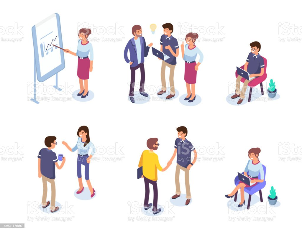 business people Business people character set. Flat isometric vector illustration isolated on white background. Adult stock vector