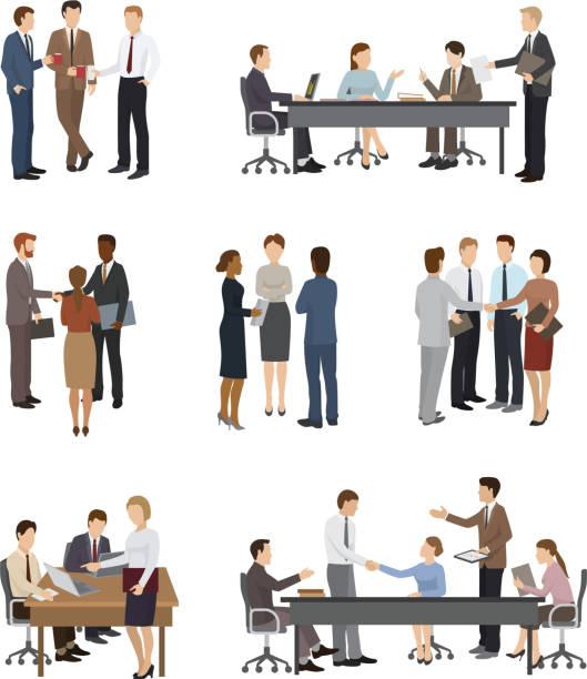 geschäftsleute vektor-team oder gruppe von professionellen menschen arbeiten im büro und geschäftsleute arbeiten im team zusammen oder treffen mit arbeitnehmern, die isoliert auf weißem hintergrund illustration - meeting stock-grafiken, -clipart, -cartoons und -symbole
