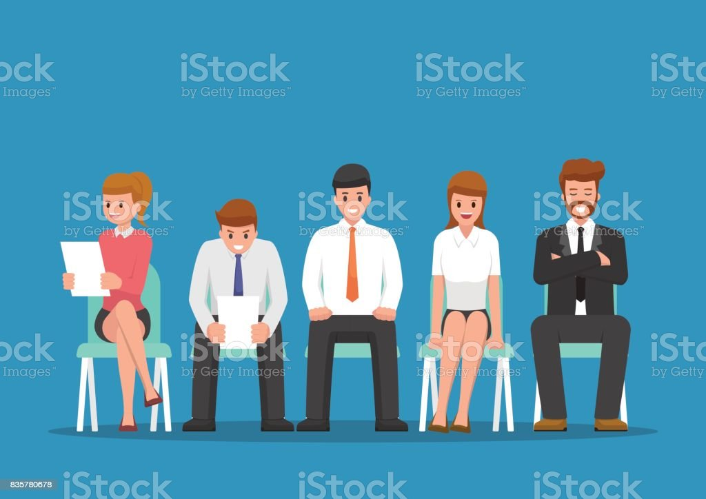 Business people waiting for job interview. vector art illustration