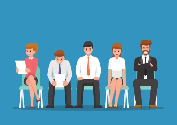 bildbanksillustrationer, clip art samt tecknat material och ikoner med affärsmän som väntar på anställningsintervju. - sitta