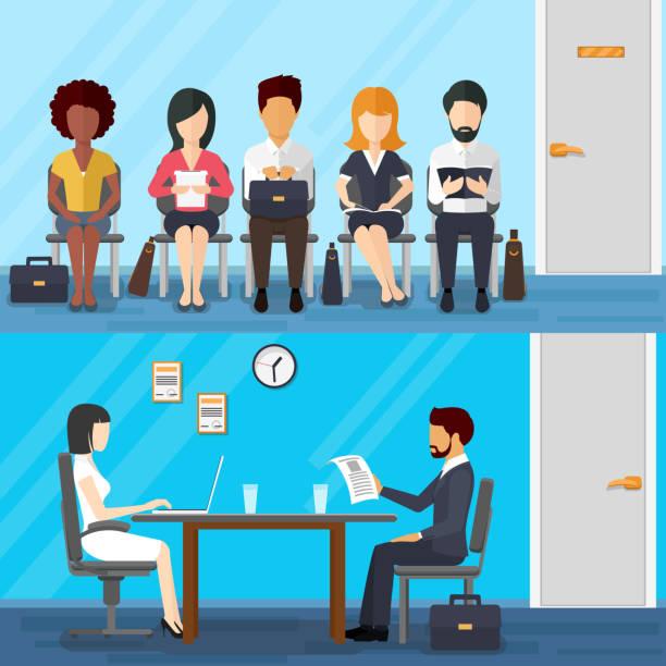 bildbanksillustrationer, clip art samt tecknat material och ikoner med business people waiting for job interview. vector recruitment concept in - job interview