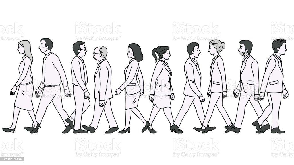 Business people walking vector art illustration