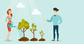 Young caucasian white business woman and asian businessman watering trees of three sizes with watering can. Business growth and investment concept. Vector cartoon illustration. Horizontal layout.