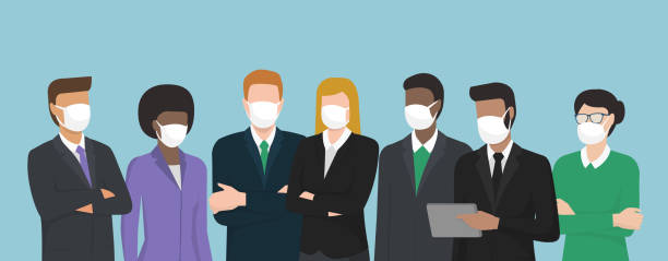 Business people wearing surgical masks and standing together Business people wearing surgical masks and standing together, healthcare and prevention concept business stock illustrations