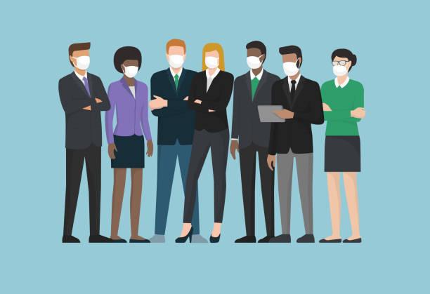 ilustrações, clipart, desenhos animados e ícones de pessoas de negócios usando máscaras cirúrgicas e de pé juntos - business man