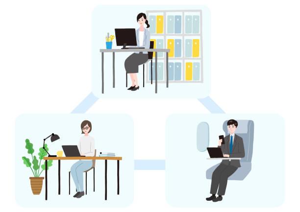 リモートワークを行うビジネス担当者 - テレワーク点のイラスト素材/クリップアート素材/マンガ素材/アイコン素材