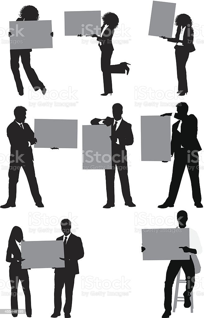 Business people with an empty placard vector art illustration