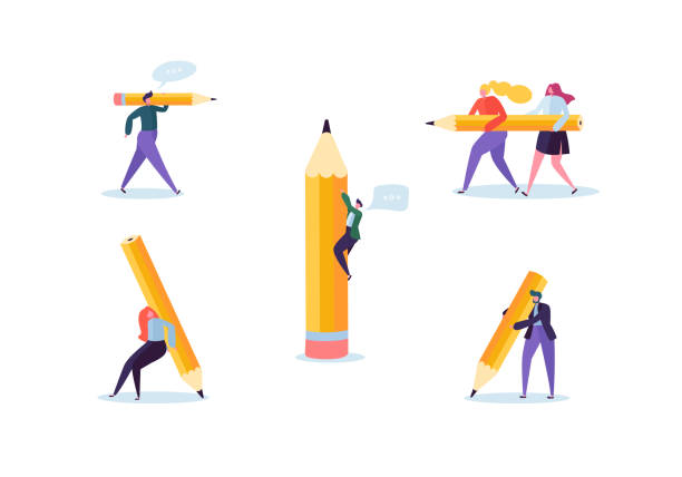 business people with big pencils. creative characters process organization. man and woman with pencil. vector illustration - ołówek stock illustrations