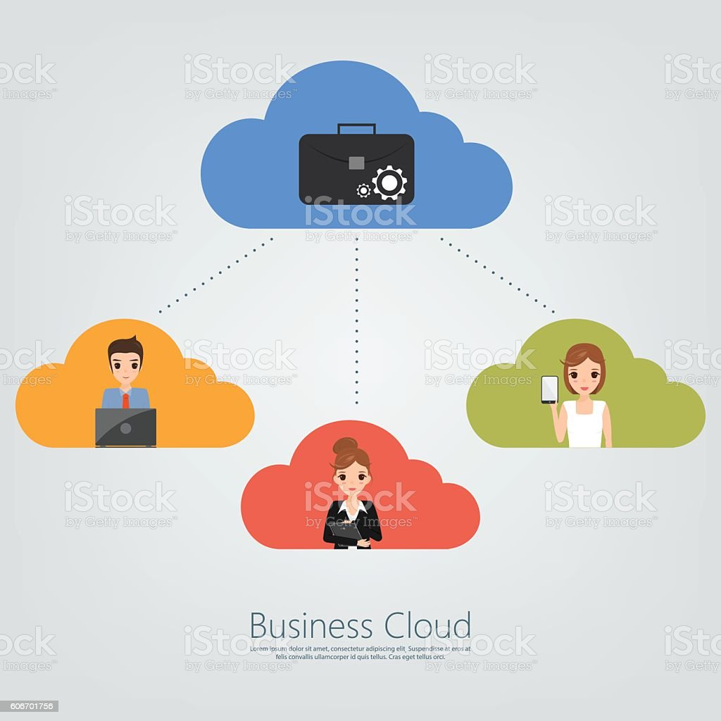 business people with cloud network for business working online. vector art illustration