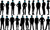 Business group with face masks. Masks can easily be removed- all faces underneath are complete.