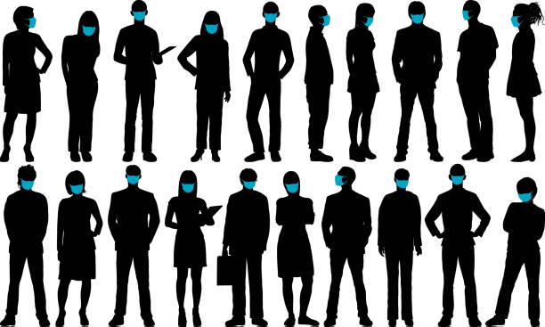 Business People with Face Masks vector art illustration