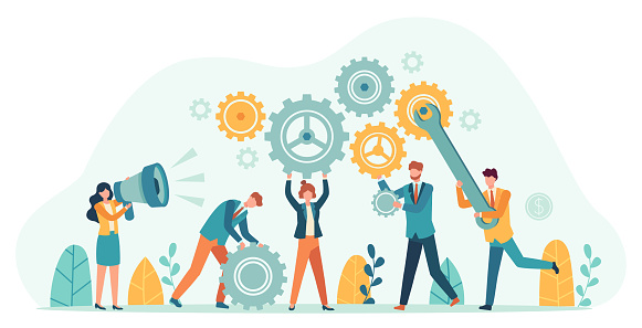 Business people with gears. Employee team create mechanism with cogs, manager with megaphone. Tiny person teamwork motivation vector concept