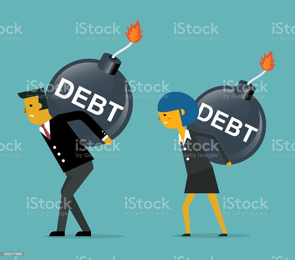 Business People with Huge Debt Bomb vector art illustration