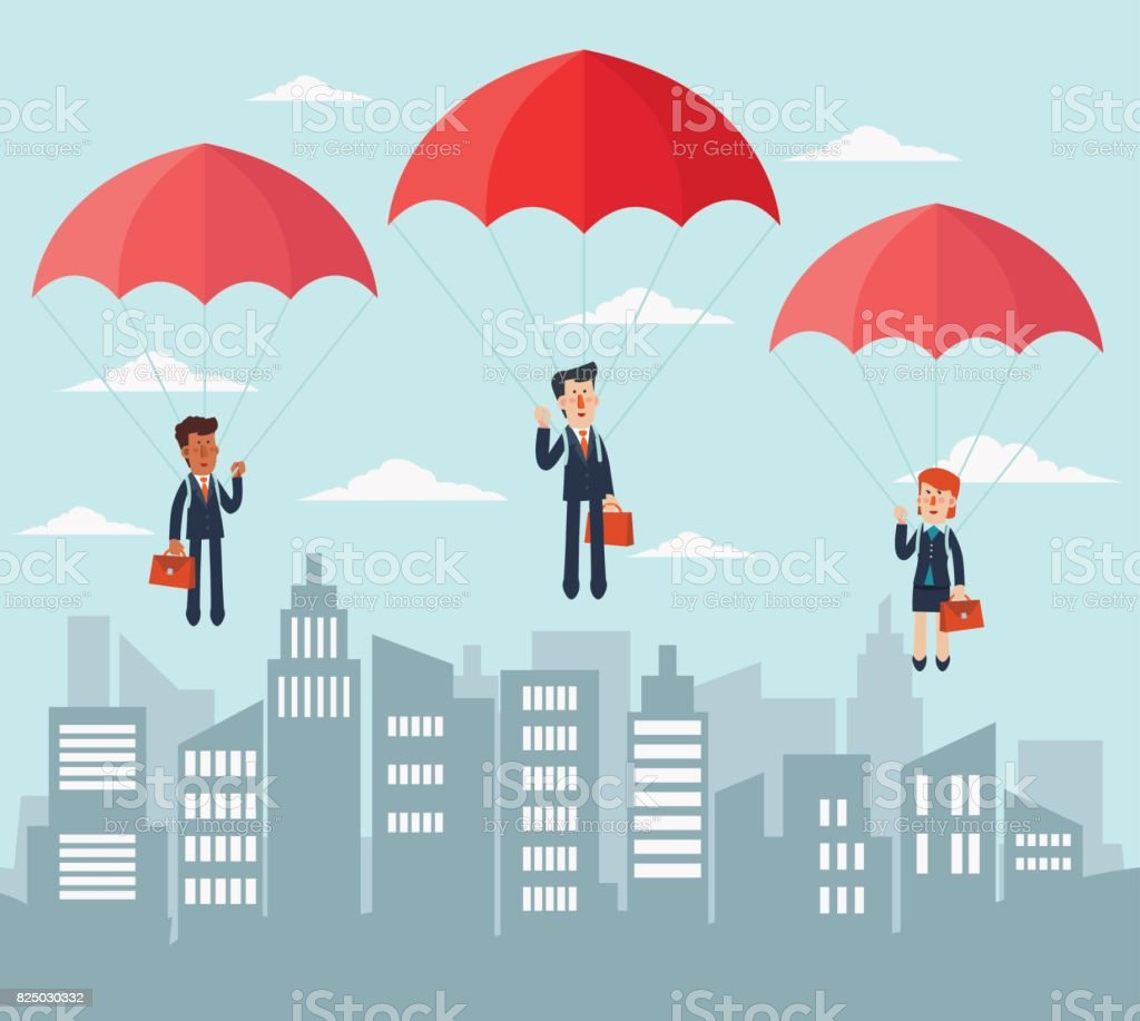 Business people with parachute over city vector art illustration