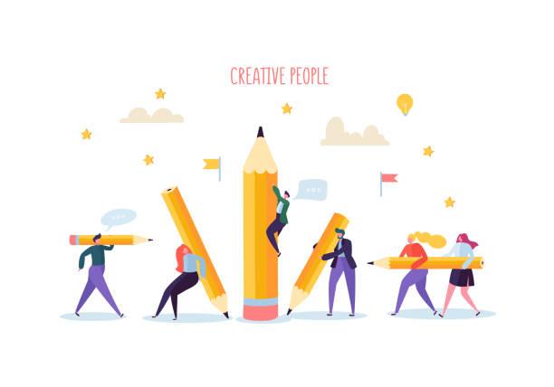 Gens d'affaires avec des crayons. Organisation du processus créatif de caractères. Homme d'affaires et femme d'affaires avec un crayon. Illustration vectorielle - Illustration vectorielle