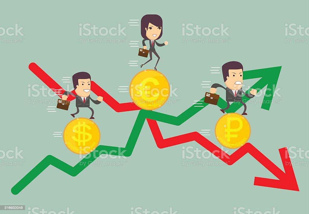 Geschäftsleute Mit Gewinn Pfeil Und Verlust Stock Vektor Art und ...