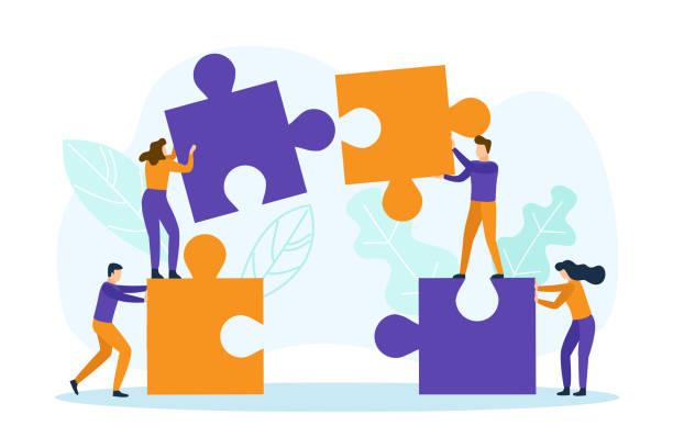 Empresarios con piezas de rompecabezas - ilustración de arte vectorial