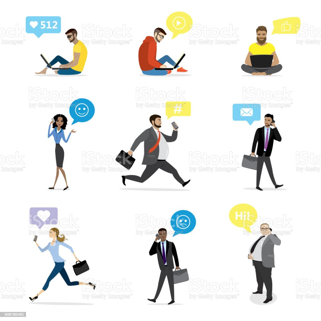 business people with smart gadgets and bubble speech vector art illustration