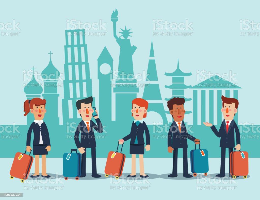 Gens d'affaires avec les valises en face de monuments célèbres. Concept d'entreprise voyage vecteur - clipart vectoriel de Adulte libre de droits